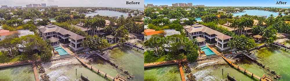 real estate drone photo editing