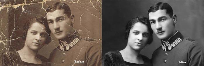 Photo restoration using photoshop